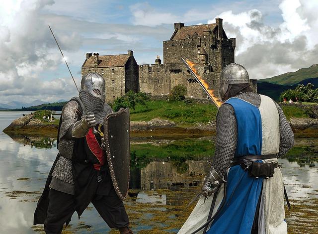 souboj středověkých rytířů